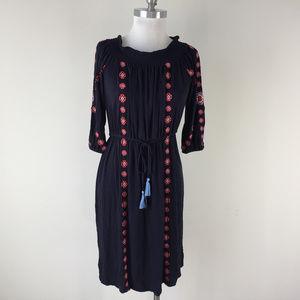 Ann Taylor Loft XS Navy Blue Embroidered Dress